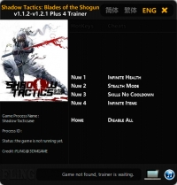 Shadow Tactics: Blades of the Shogun — трейнер для версии 1.2.1 (+4) FLiNG