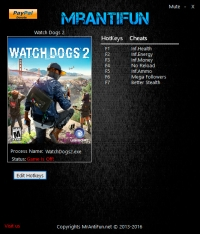 Watch Dogs 2 — трейнер для версии 1.09.154.2.1001103 (+7) MrAntiFun