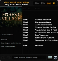 Life is Feudal: Forest Village — трейнер для версии 0.9.6032 (+8) FLiNG [Ранний доступ]