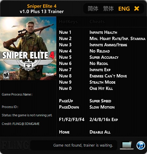 Sniper Elite 4 — трейнер для версии 1.0 (+13) FLiNG
