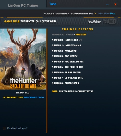 theHunter: Call of the Wild — трейнер для версии 1.01 (+9) LinGon