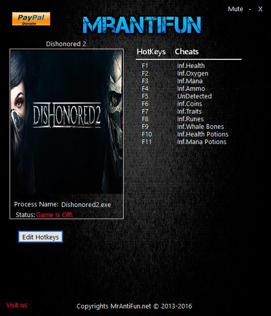 Скачать Трейнер На Dishonored 2 - фото 3