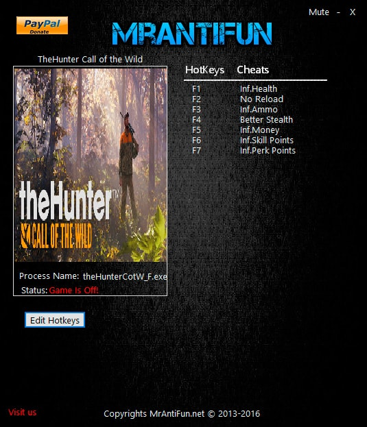 theHunter: Call of the Wild — трейнер для версии 1.0 (+7) MrAntiFun