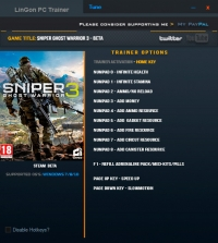 Sniper: Ghost Warrior 3 — трейнер для версии Beta (+12) LinGon
