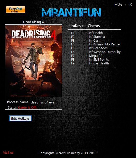 Dead Rising 4 — трейнер для версии 3.0.2.4 (+10) MrAntiFun [Windows Store]