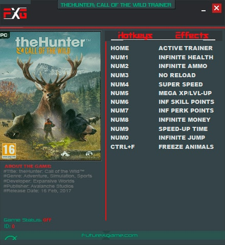 theHunter: Call of the Wild — трейнер для версии 1.3 (+11) FutureX