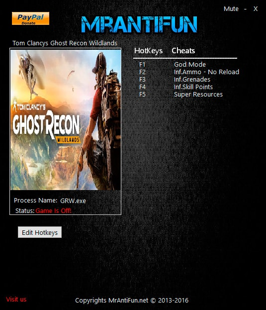 Tom Clancy's Ghost Recon Wildlands — трейнер для версии 1.1.5 (+6) MrAntiFun