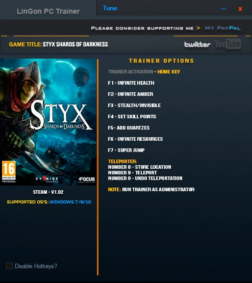 Styx: Shards of Darkness — трейнер для версии 1.02 (+9) LinGon