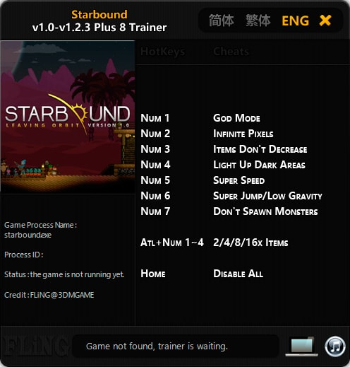 Starbound — трейнер для того версии 0.2.3 (+8) FLiNG