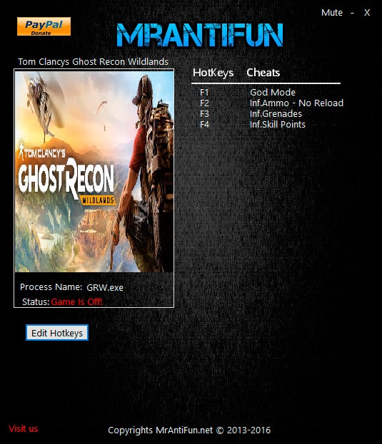 Tom Clancy's Ghost Recon Wildlands — трейнер для версии 1.0 (+5) MrAntiFun