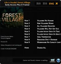 Life is Feudal: Forest Village — трейнер для версии 0.9.6100 (+8) FLiNG [Ранний доступ]