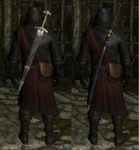 Моды на Скайрим Оружие за Спиной